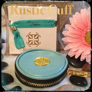 Rustic Cuff Teal Hair Tie & Jewelry Case